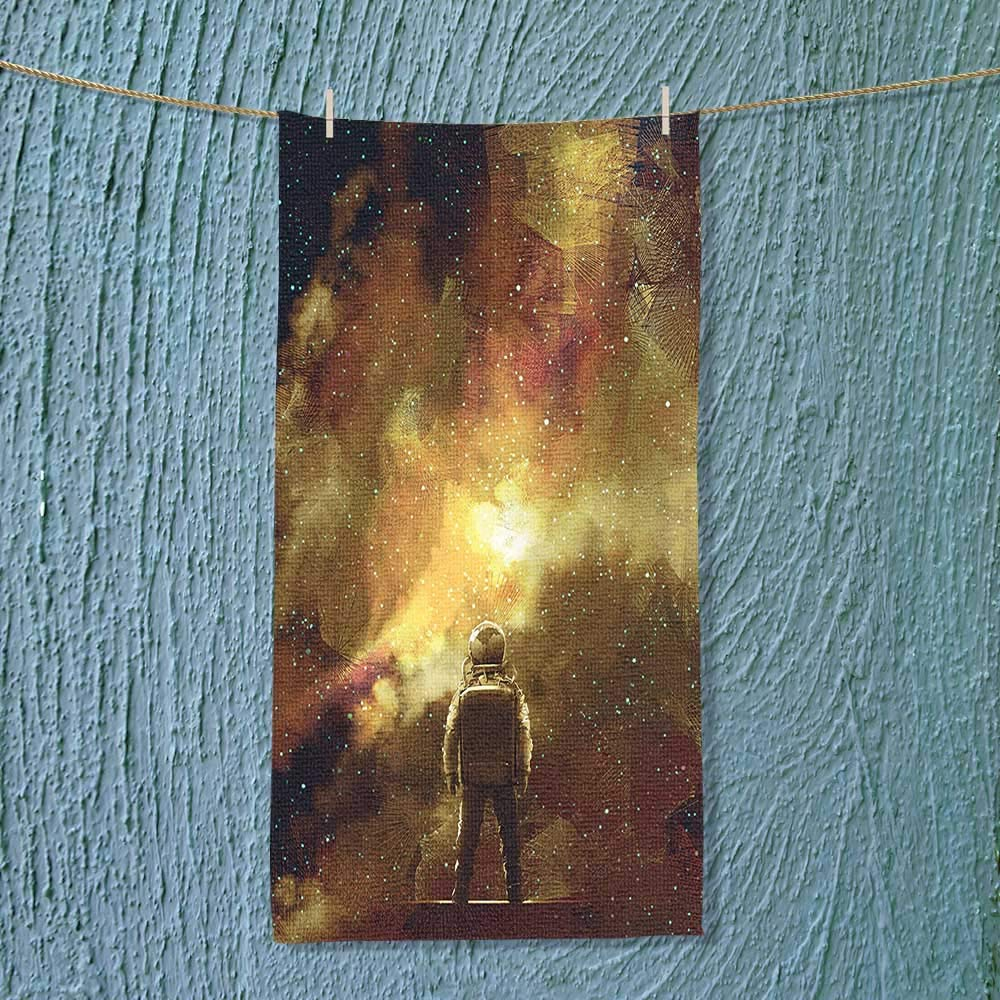 SOCOMIMI Swimmer Towel House Decor Cosmonaut Boy Standing Against Cosmos Nebula Themed Solar Artprint Tan Black Moisture Wicking
