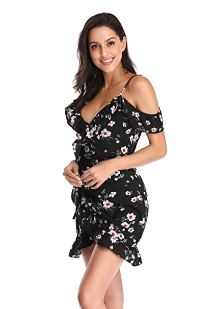 cheap new lower prices utterly stylish Summer Dresses for Women Casual Wrap V-Neck Midi Cute Petite Cotton  Cocktail Dress with Sleeve for Beach Work