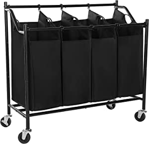 SONGMICS Heavy-Duty 4-Bag Rolling Laundry Sorter Storage Cart with Wheels Black URLS90H (Renewed)