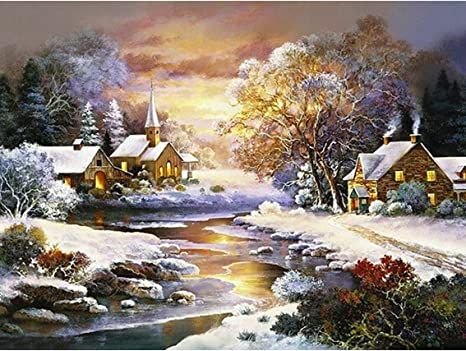 Diamond Painting Cross Stitch Landscape River House Tree Embroidery Home Decor
