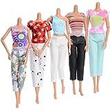 Asiv 5 Ensembles de Mode Vêtements Décontractés pour Poupée Barbie, 5 T-Shirt Manches Courtes +5 Pantalons pour Barbie Fashionistas