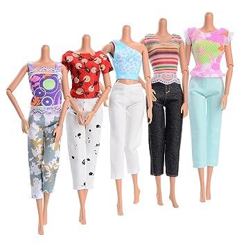 Asiv Moda Cómodo Hecho a Mano 5 Conjuntos Blusa con Pantalones Ropa Casual para Muñecas Barbie