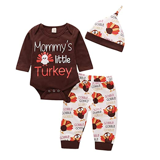 3337b56f9235 1st Thanksgiving Baby Outfit Infant Boy Girl Set Long Sleeve Bodysuit Pants  with Hat and Headband