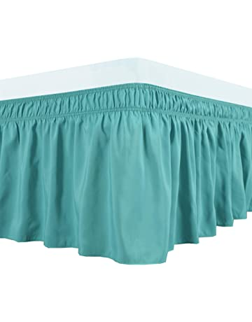 e815585e4c Biscaynebay Wrap Around Bed Skirts Elastic Dust Ruffles, Easy Fit Wrinkle  and Fade Resistant Silky