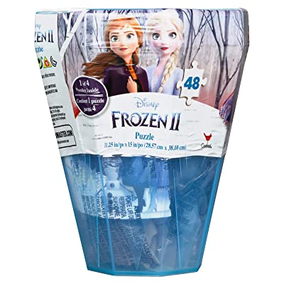 Disney Frozen 2 48-Piece Surprise Puzzle in Plastic Gem-Shaped Storage Case: Toys & Games