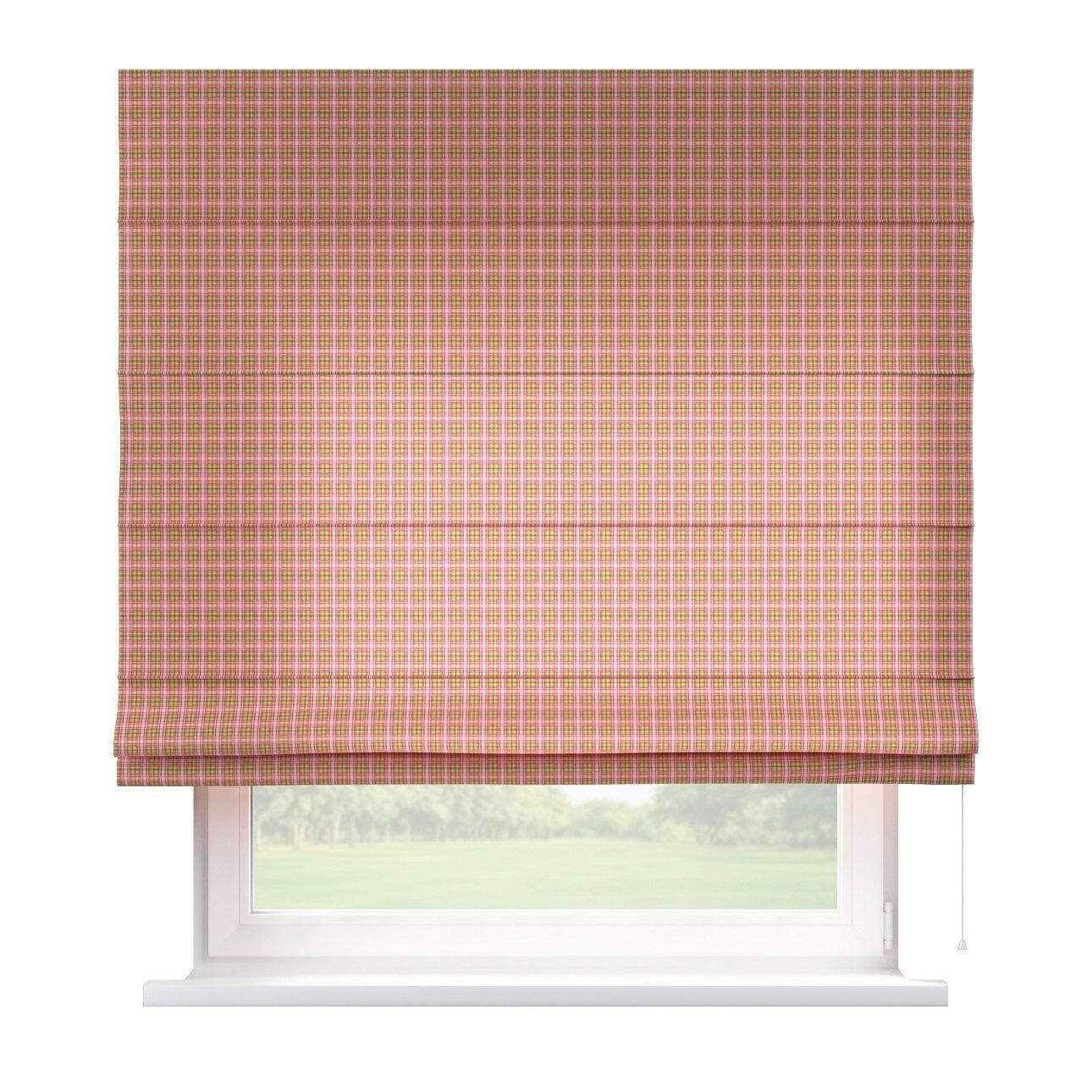 Dekoria Raffrollo Capri ohne Bohren Blickdicht Faltvorhang Raffgardine Wohnzimmer Schlafzimmer Kinderzimmer 130 × 170 cm rosa-grün Raffrollos auf Maß maßanfertigung möglich