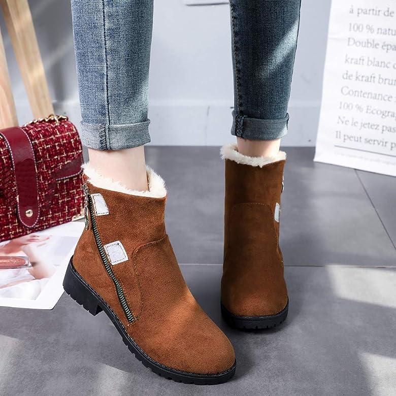 Frenchenal Femme Filles Chaussures Bottes de Neige Hiver avec Fourrure à Talons Plats Chaude Boots Plates Chaussures Fermeture Éclair Bottines