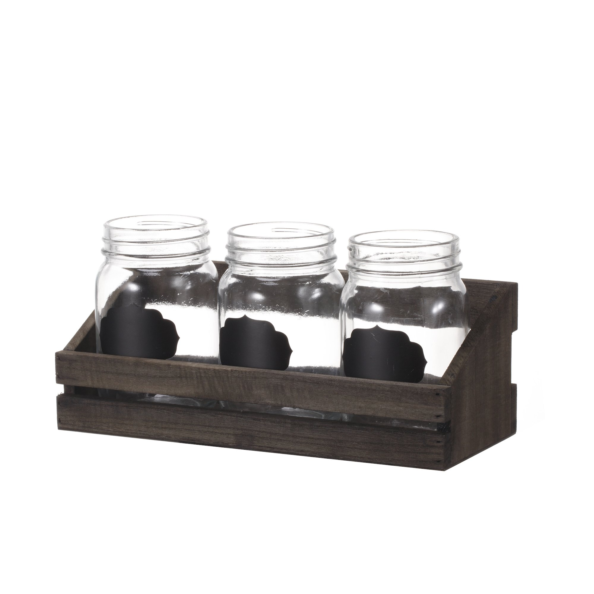 V-More Bud Vase with Chicken Wire Basket V-More Rustic Glass Mason Jar with Chalkboard Label and Wooden Tray 6.5-inch Tall For Home Decor Wedding Party Celebration
