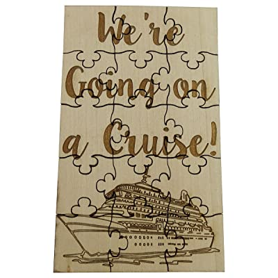 "We're Going On A Cruise - 15 Piece Basswood Jigsaw Puzzle, 6"" x 3.5"" Surprise Vacation Reveal: Toys & Games"