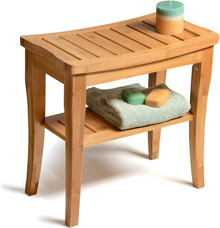 棚付きシャワーベンチスツール - 竹スパバスルームインテリア - 屋内または屋外での使用のための木製の座席ベンチ