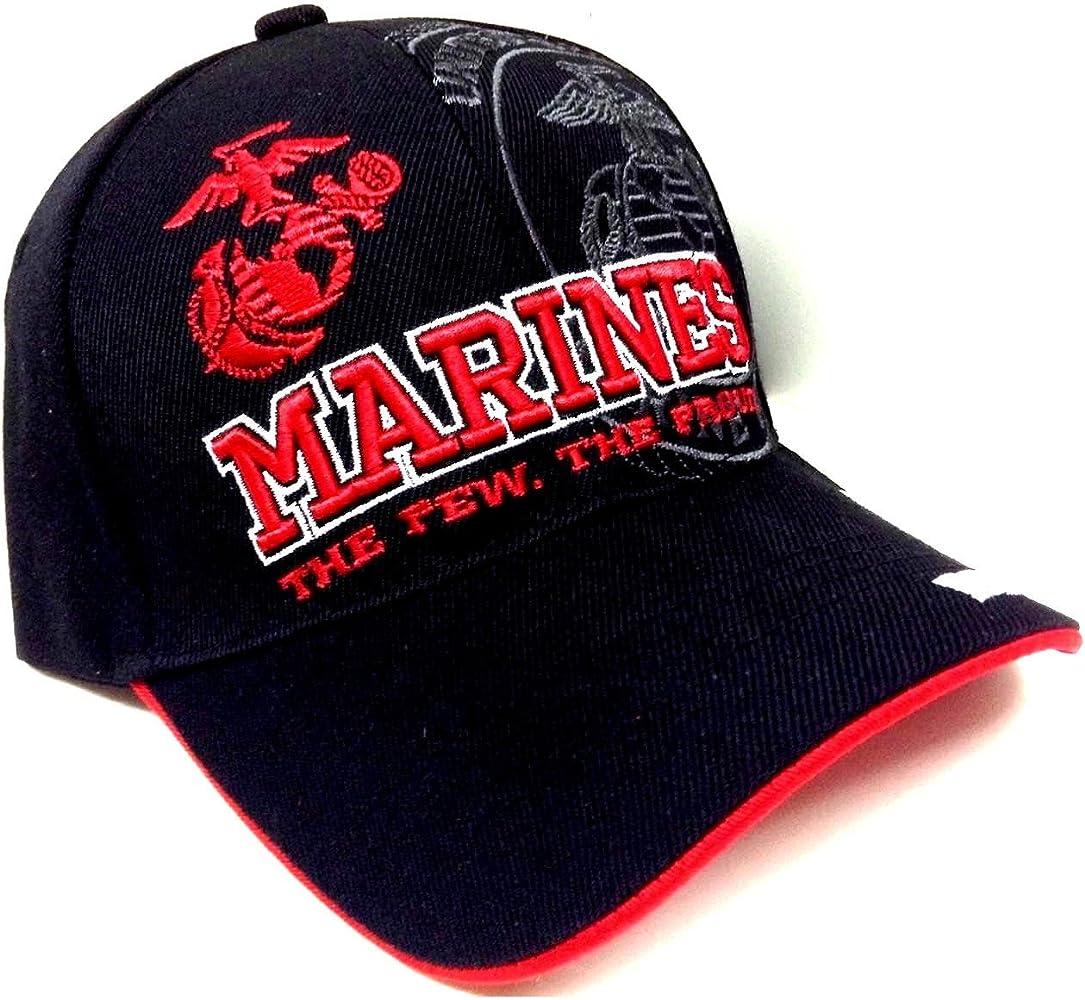 Black Red Marines Text USMC United States Marine Corps Hat Cap