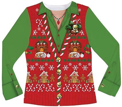 Amazon.com: Faux Real Chaleco de Ugly Navidad Suéter para ...
