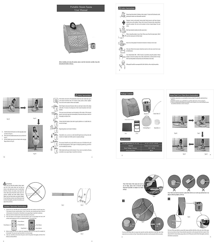 Hurbo Manual for Portable Steam Sauna Spa Patio, Lawn & Garden ...