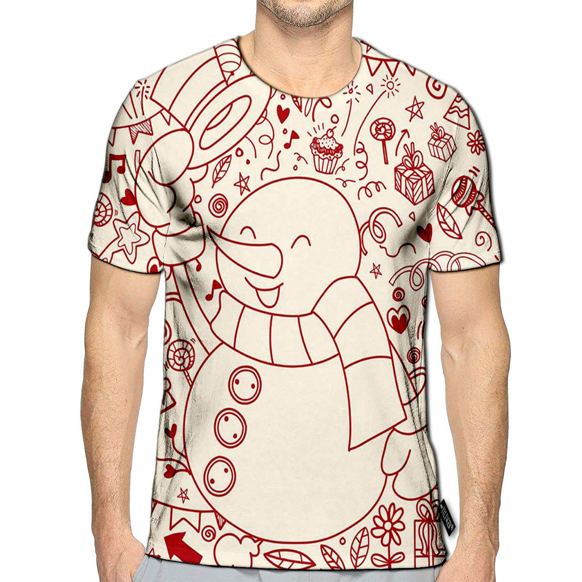 YILINGER 3D Printed T-Shirts Tooth Shape Grunge Sunburst Short Sleeve Tops Tees