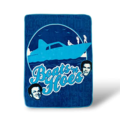 Silver Buffalo Step Brothers Boats 'n Hoes Raschel Throw Blanket, Blue: Home & Kitchen