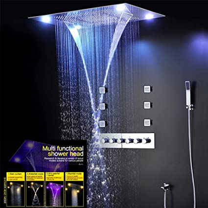 Amazon.com: BTSSA Juego de ducha de lluvia grande, ducha de ...