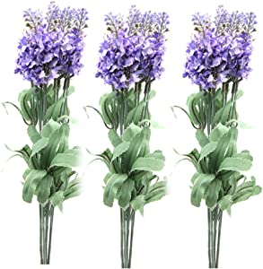 Generic Artificial Lavender Silk Flower Home Wedding D¨¦cor, 3 bouquets 30 Heads, Light Purple