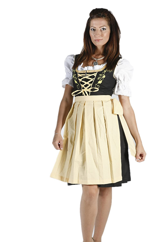 3tlg. besticktes Dirndl Set Schwarz Gelb mit Bluse und Schürze, Gr ...