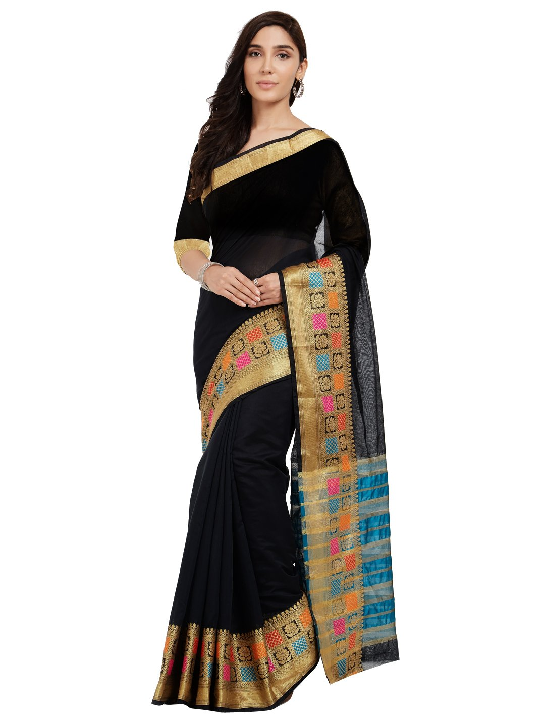 Viva N Diva Sarees for Women's Black Cotton Art Silk Saree with Un-Stiched Blouse Piece,Bollywood Sari