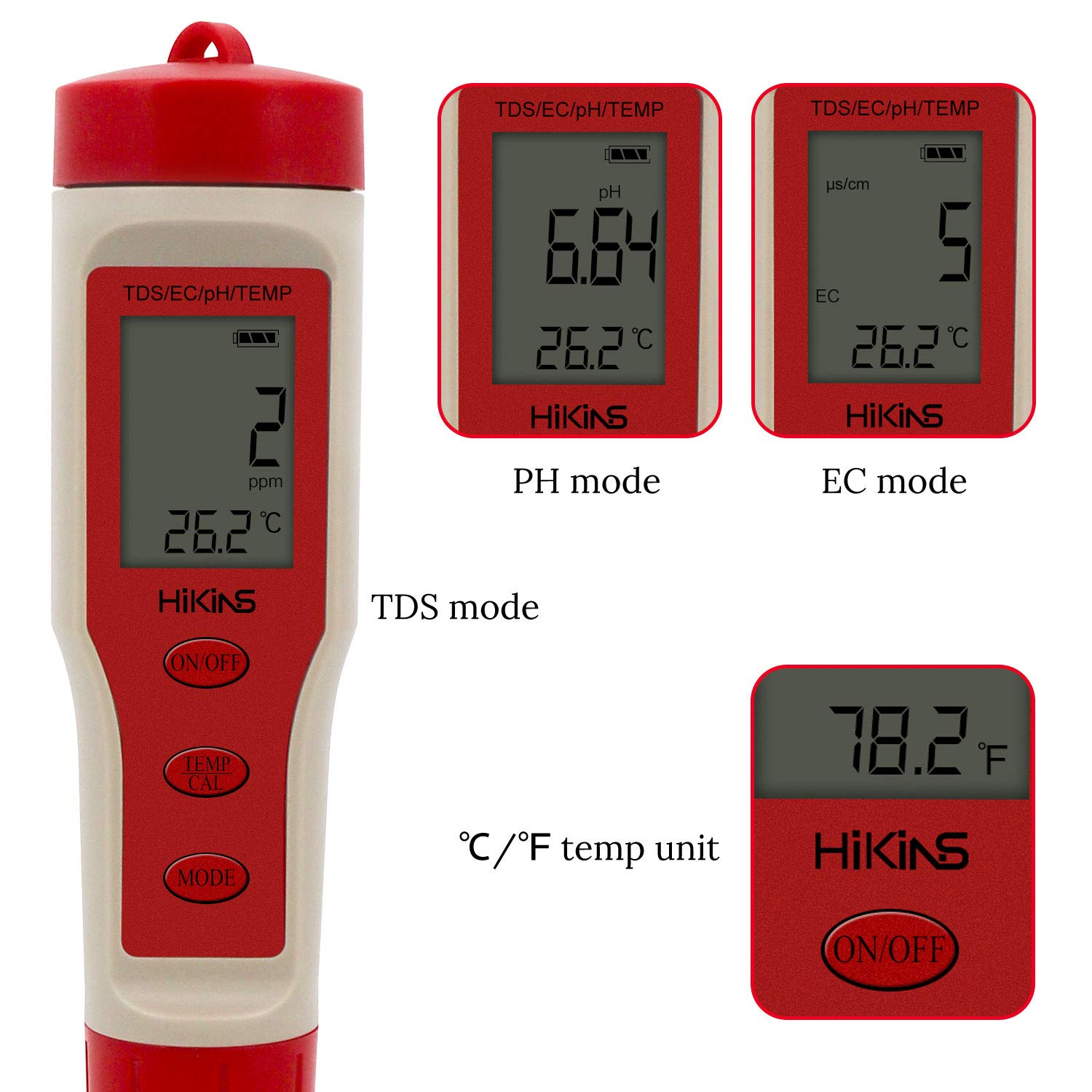 HiKiNS Digital Water Quality Meter High Accuracy 4 in 1 PH//TDS//EC//TEMP Tester for Aquariums Hydroponics Pool Spa Drinking water
