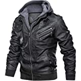 Sunward Men's Autumn Winter Vintage Zipper Hoodie Pure Imitation Leather Coat
