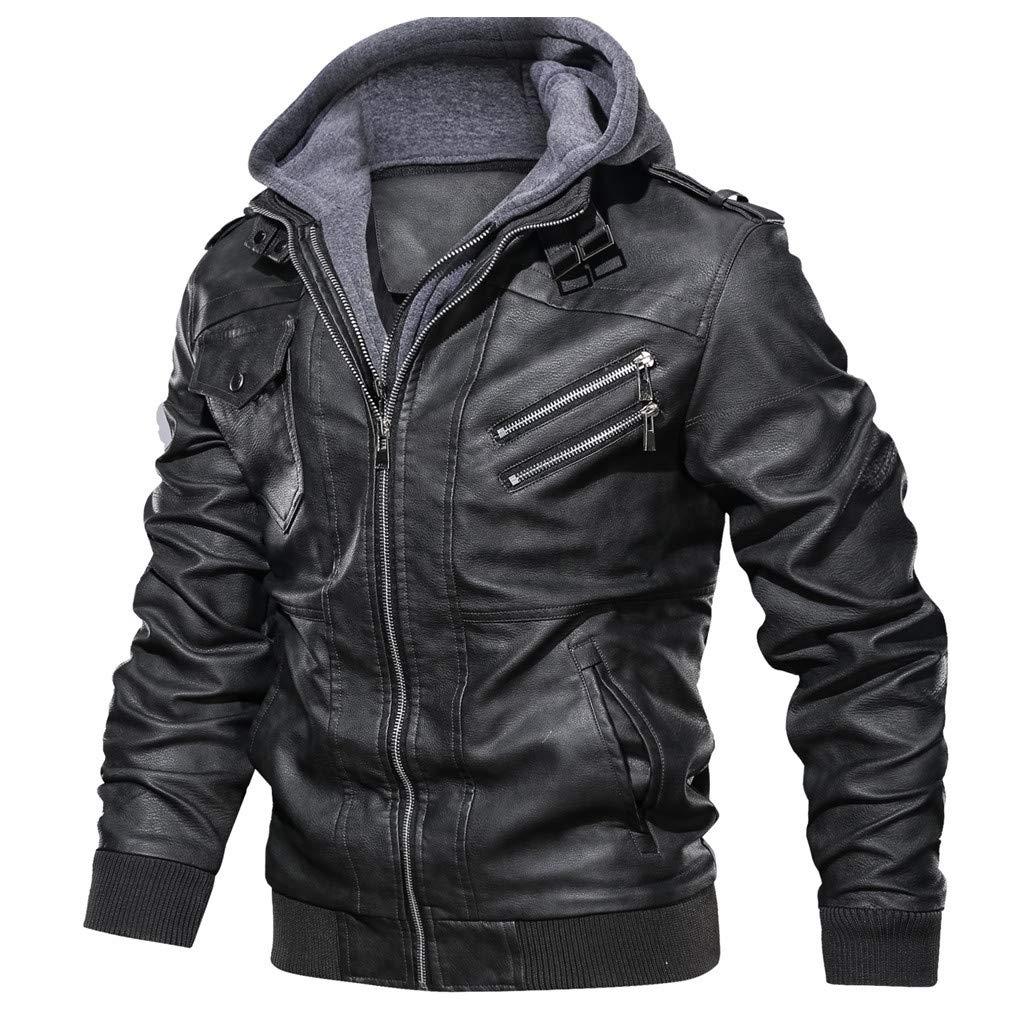 kemilove Men's Faux Leather Two-Pocket Trucker Coat with Detachable Hood Black