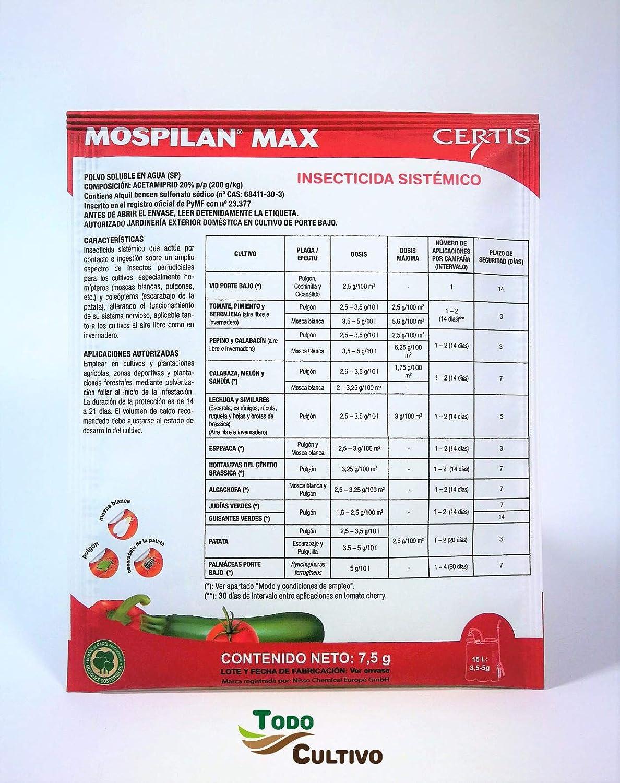 Todo Cultivo MOSPILAN. Envase de 7,5 Gramos. Insecticida sistémico acetamiprid 20%. Indicado para el pulgón, Mosca Blanca, Escarabajo Patata, etc.