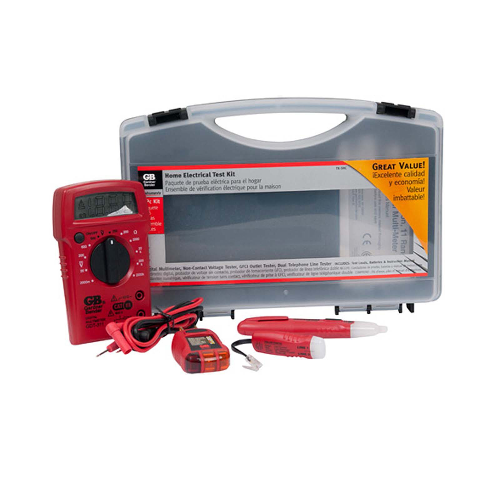 Gardner Bender TK-5HCN Home Electrical / Electrician Tester Kit Includes Digital MultiMeter (GDT-311), Non-Contact Voltage Tester (GVD-3504), GFCI Outlet Tester (GFI-3504), Dual Phone Line Tester (GTT-3200), & Replacement Test Leads (RTL-103), 4 Pc. Kit,