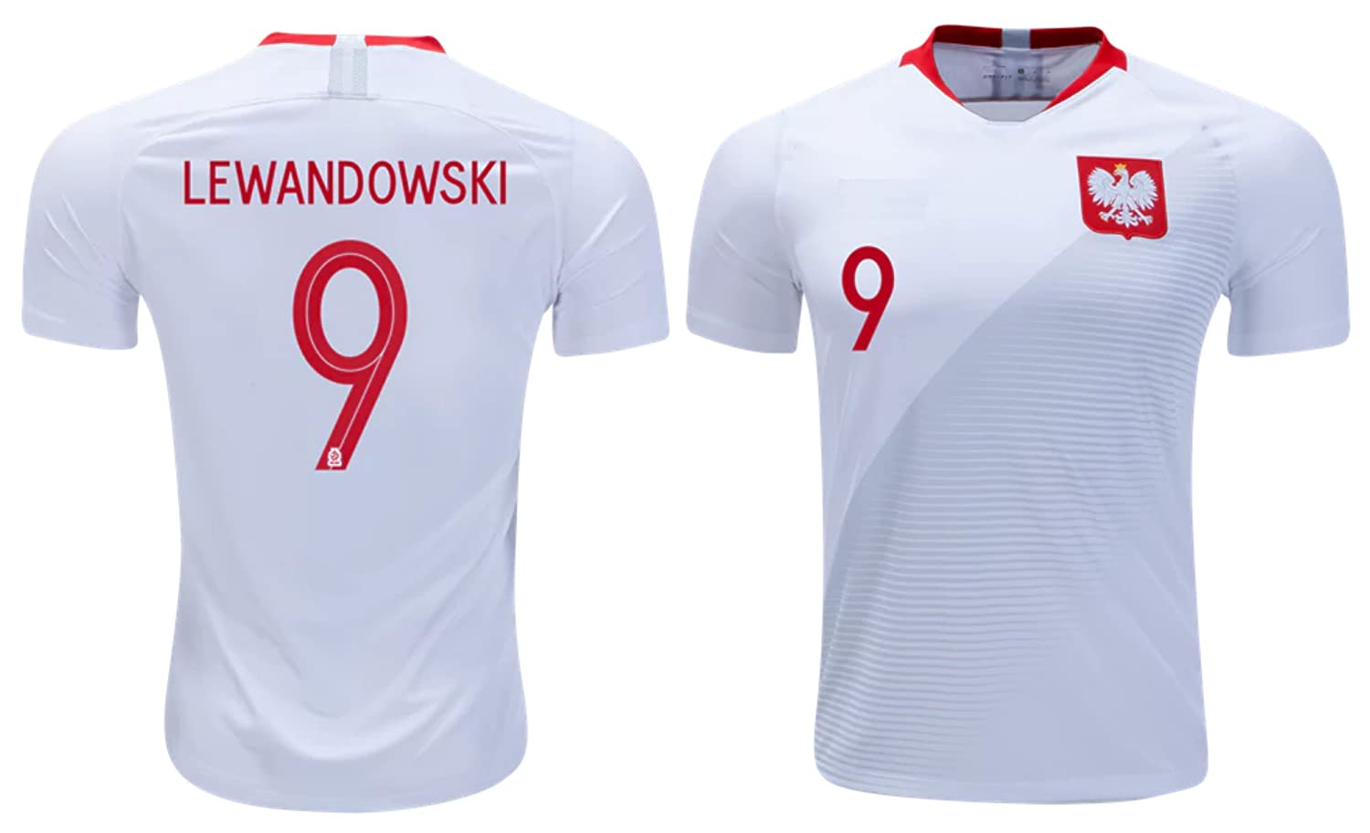 Poland Lewandowski #9 Soccer Jersey Men's Adult Home World Cup Short Sleeve Athletics Rhinox