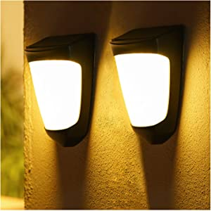 Solar Wall Lights Outdoor Decorative - IP54 Waterproof Porch Light Led Garden Light with No Wiring Required, Wall Mount Fence Post Lighting,3000k (2 Packs)