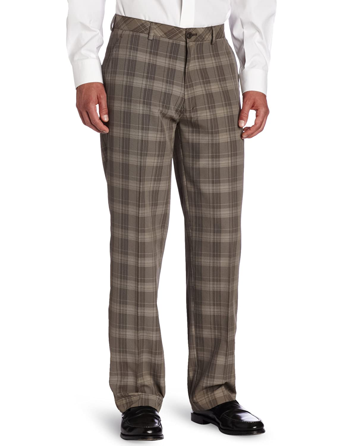 Haggar Men's C18 Broken Glen Plaid Straight Fit Flat Front Pant at ...