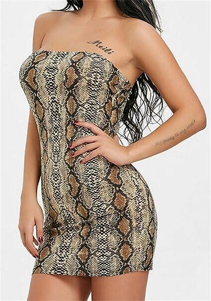 Nanquan-women clothes NQ Women s Sexy Strapless Snakeskin Print Bodycon  Bandage Mini Dress at Amazon Women s Clothing store  461c1cba9