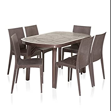 Vermora 1 + 6 Dinning Table Set Dezire (Brown)