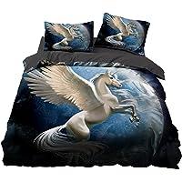 Bolat - Juego de cama de unicornio para niños y adultos, diseño de animales, estampado, microfibra, funda de edredón…