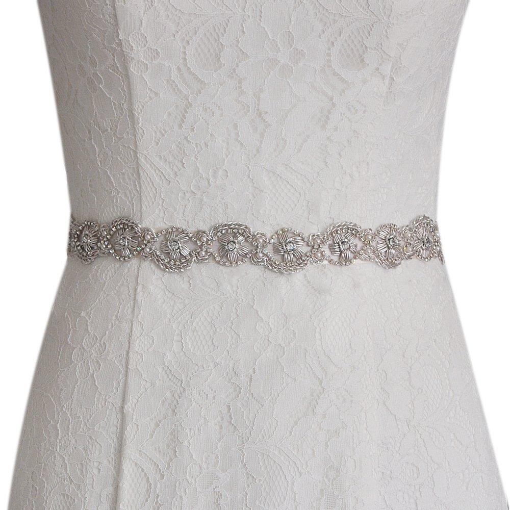 ULAPAN Bridal Belt Sash With Pearls,Wedding Belt With Crystals,Shin Elegant Wedding Sash India Wire,S368 US-S368-20180531