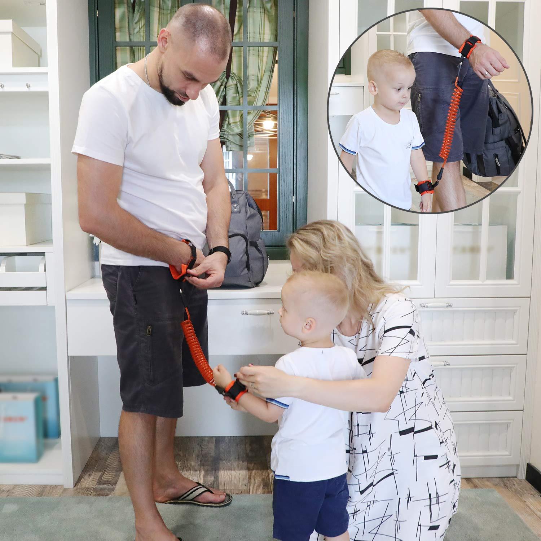 MEETBABY Anti Lost Wrist Link,Safety Toddler Harness,Child Safety Tether,Child Restraint Leash,Kids Wrist Strap For Baby Travel Outdoor Safety Harness(1.5M,Orange) Orange) LTD Orange001