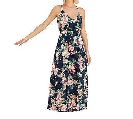 Trendy-Nicer Casual Midi Women Vestido Elegant Sexy Strap Dress Vintage Floral Maxi Elbise Boho