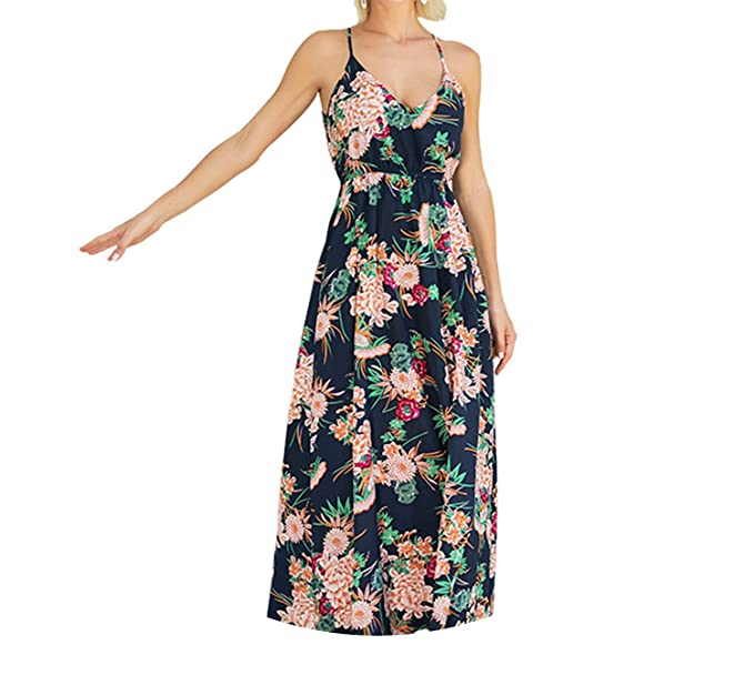 Trendy-Nicer Casual Midi Women Vestido Elegant Sexy Strap Dress Vintage Floral Maxi Elbise Boho at Amazon Womens Clothing store: