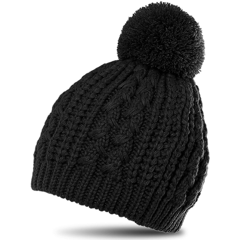 CASPAR Damen klassische Winter Strickmütze mit Zopfmuster und grossem Bommel - viele Farben - MU055