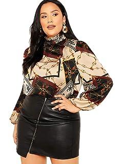 3ed21bdf7184a5 Romwe Women's Plus Elegant Leopard Chiffon Button Down Bow Tie Blouse Top  Shirts