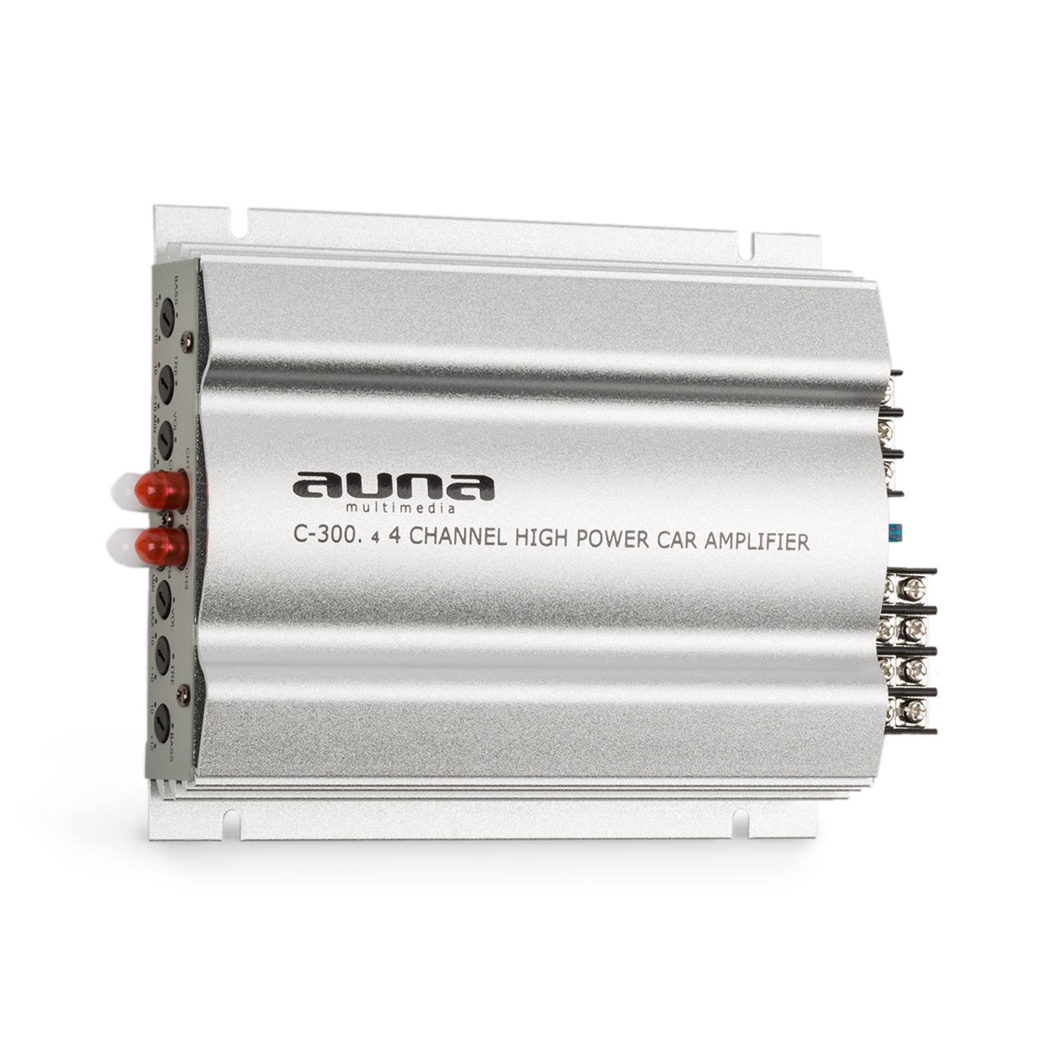 auna C300.4 • 4-channel power amplifier • Auto amplifier • Amp 1200W PMPO • 300W RMS output • Adjustable volume • Multi-connection option • Weight 846g • Bass and treble adjustable ± 10dB • Silver