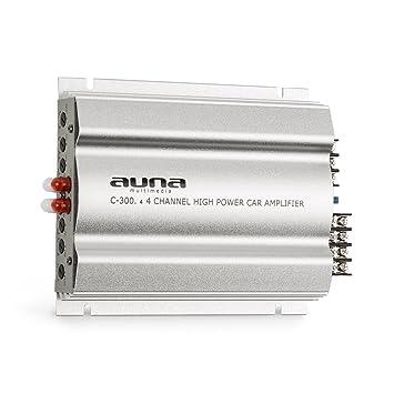 auna C300.4 - Amplificador de Coche , Terminal de 4 Canales , 4x200 W de Potencia Total , Ecualizador de Dos Bandas Regulable , 20 Hz - 20 kHz , ...