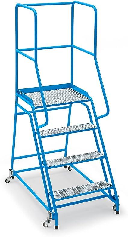 Escalera, móvil, con rejilla, 4 niveles de entramado – Escaleras y patadas y pie Escaleras Plataforma Escaleras