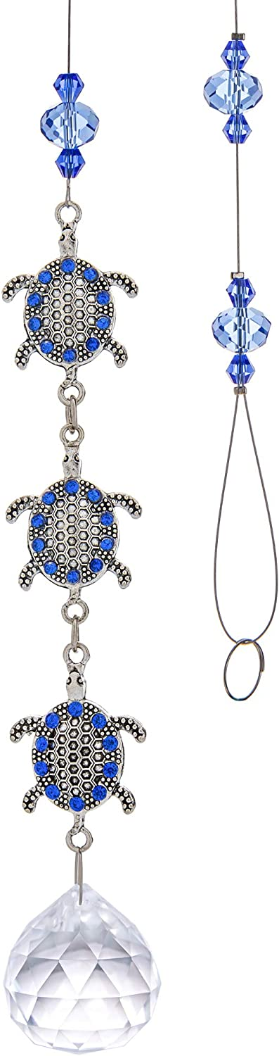 YU FENG Sapphire Crystals Bejeweled Turtle Decor Hanging Suncatcher Ornament with Clear Ball Prism Rainbow Maker Pendant