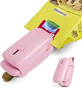 Mini Bag Sealer, Portable Handheld Heat Sealer, 2 in 1 Bag Resealer Sealer and Cutter for Plastic Bags Food Storage Snack Freshness, Pink