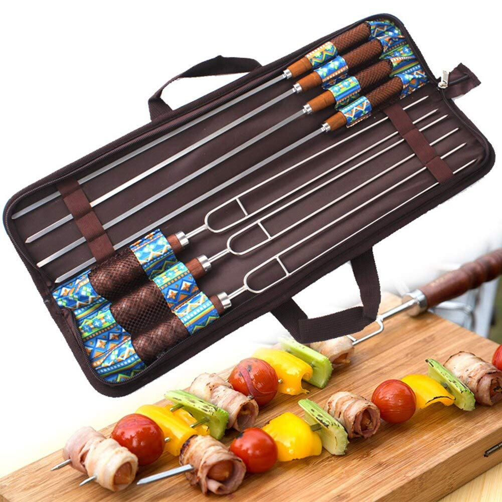 MURPHY 7Pcs Kitchen Practical Wooden Handle Home Barbecue Skewers Stainless Steel Safety Needle Picnic Tools BBQ Fork Set Camping by MURPHY