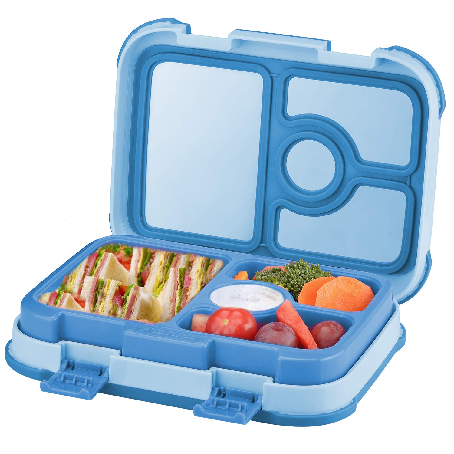 Leakproof Kids Lunch Box | 4-Compartment Bento Box for Kids | BPA-Free | School Lunch Container for Boys Girls | Children Travel On-the-Go Meal and Snack Packing Containers | Blue by LROZA