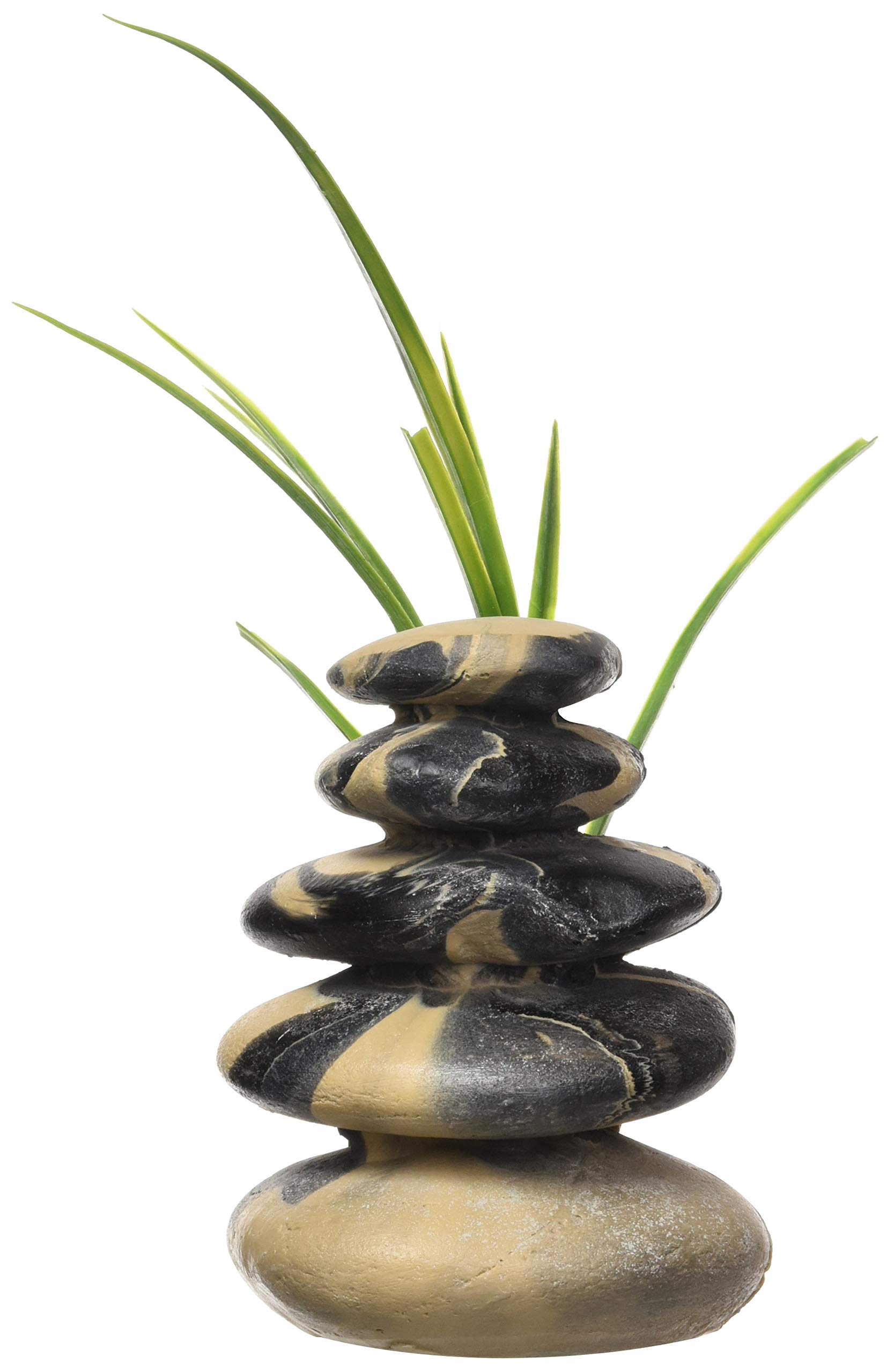Rock Garden River Rock Stack with Plant, 8'' by Rock Garden