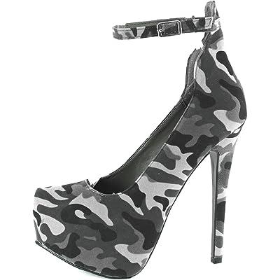 Women's Breckelle's MARISA-34 Platform High Heel Stiletto Ankle Strap Pump,7 B(M) US,Grey Camouflage - Ankle Strap
