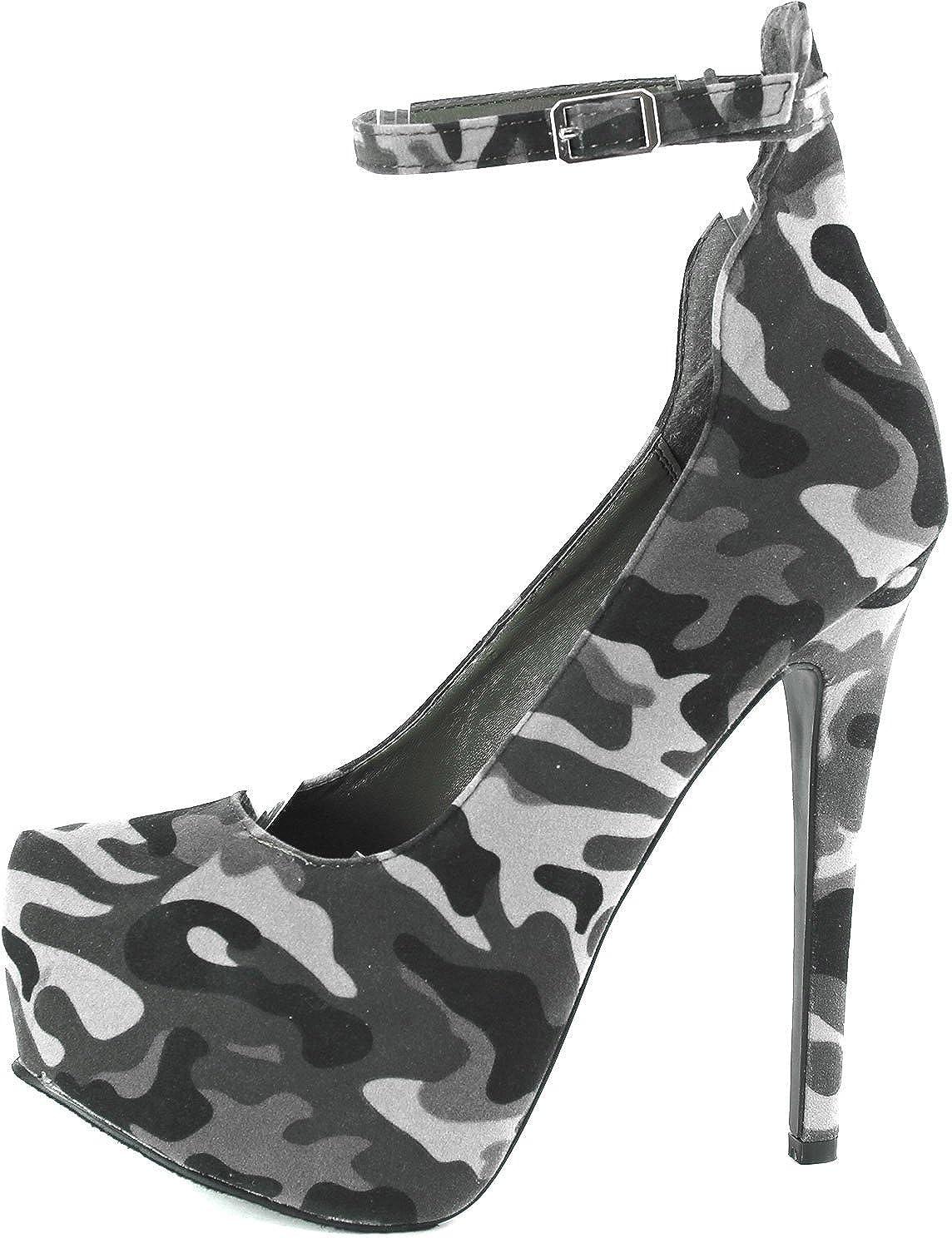 11a48175fe9 Breckelles Women s MARISA-34 Platform High Heel Stiletto Ankle Strap Pump